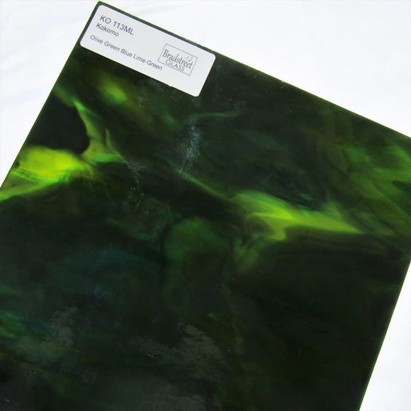 Olive Green Blue Lime Green Stained Glass Sheet Kokomo 113ML