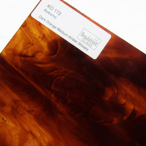 Dark Orange Medium Amber Streaky Stained Glass Sheet Kokomo 172