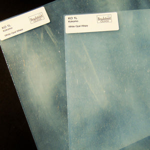White Opal Wispy Stained Glass Sheet Kokomo 1L