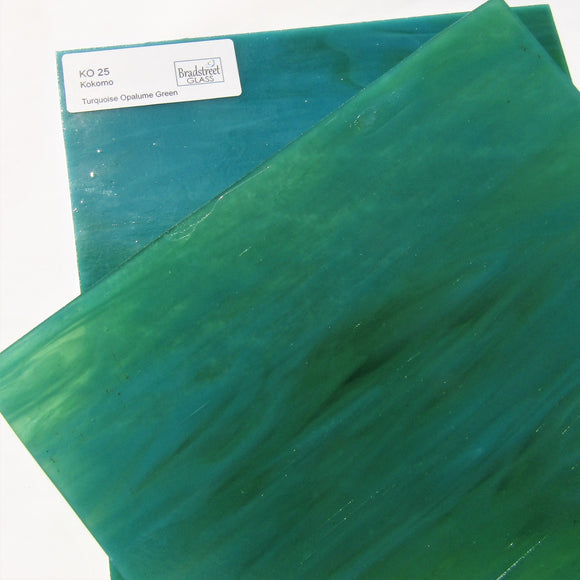 Turquoise Opalume Green Stained Glass Sheet Kokomo 25