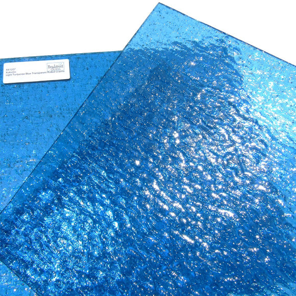 Kokomo Light Turquoise Blue Transparent Rolled Granite K612G stained glass sheet