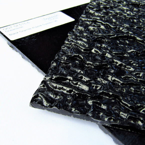 Black Granite Ripple Stained Glass Sheet 96 COE Fusible Oceanside Spectrum SF515.6