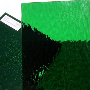 Spectrum Emerald Green Rough Rolled Translucent Cathedral Stained Glass Sheet S125RR