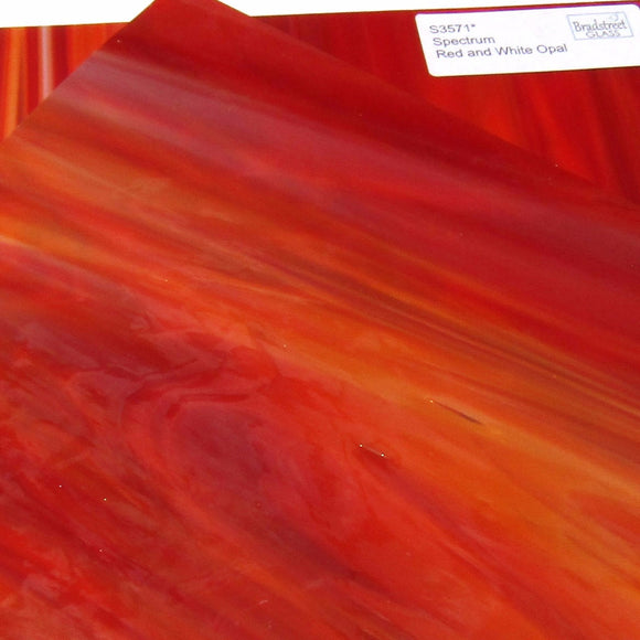 Spectrum Red and White Opal Stained Glass Sheet S3571