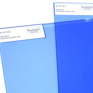 Pale Blue Fusible 8x8 Stained Glass Sheet 96 COE Transparent Cathedral Spectrum SF130.8