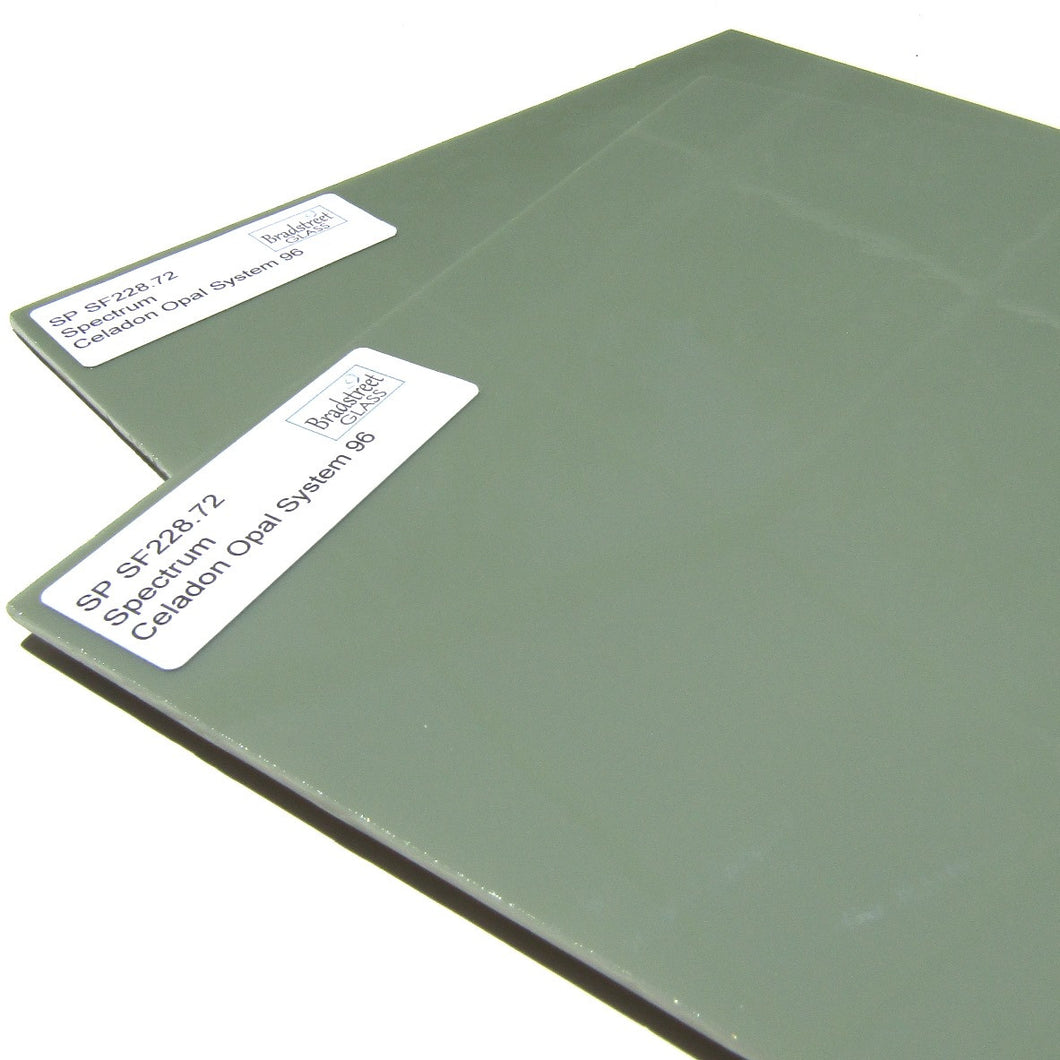 Spectrum Opaque Celadon Opal System 96 Fusible Green Stained Glass Sheet SF228.72