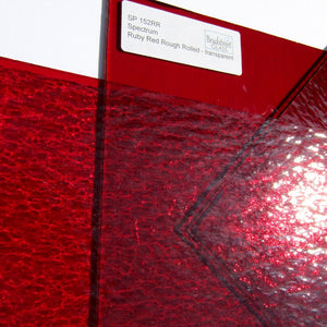 Spectrum Ruby Red Rough Rolled Translucent Cathedral Stained Glass Sheet SP 152RR