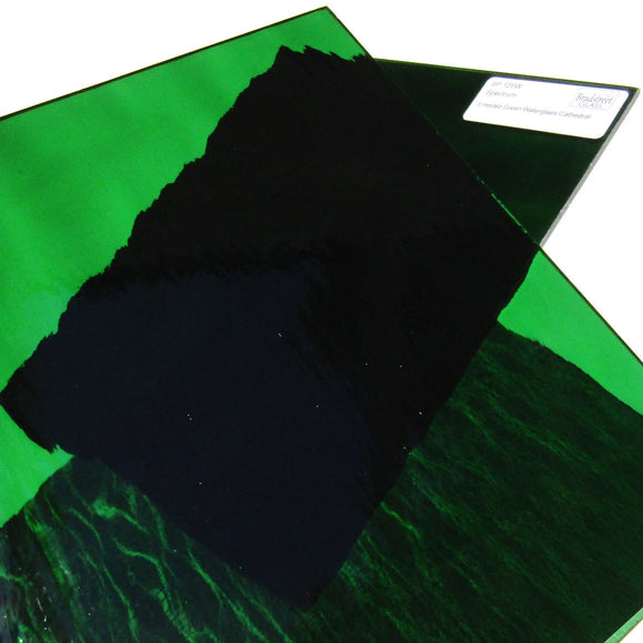Emerald Green Waterglass Textured Translucent Cathedral Stained Glass Sheet Spectrum SP 125W