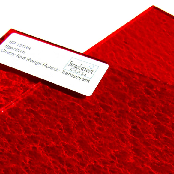 Spectrum Cherry Red Rough Rolled  SP 151RR Cathedral Stained Glass Sheet