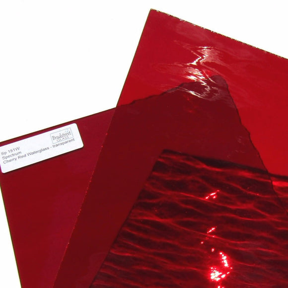 Spectrum Cherry Red Waterglass Translucent Cathedral Stained Glass Sheet 151W