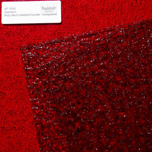 Spectrum Ruby Red Granite Cathedral Textured Translucent Stained Glass Sheet SP 152G