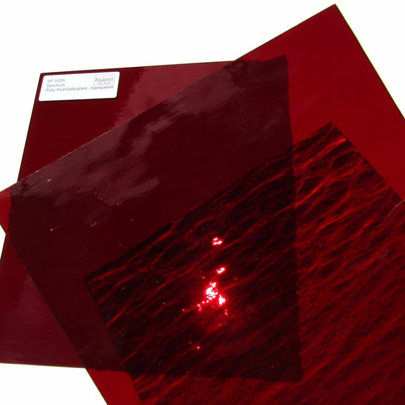 Spectrum Ruby Red Waterglass Translucent Cathedral Stained Glass Sheet SP 152W