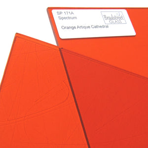 Orange Artique Cathedral Stained Glass Sheet Spectrum 171A