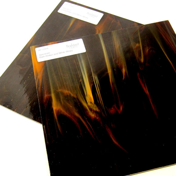 Spectrum SP 319.6 Stained Glass Sheet Opaque Streaky Swirled Dark Amber and White Wispy
