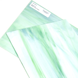 Spectrum 325.2 Stained Glass Sheet White Light Green Opal Streaky Swirled Opaque