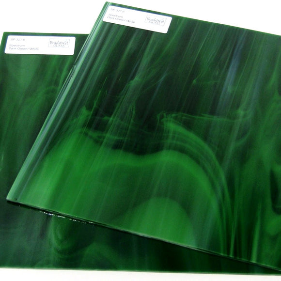 Spectrum 327.6 Stained Glass Sheet Dark Green White Opal Streaky Swirled Opaque