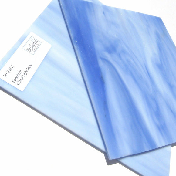 Spectrum SP 335.2 Stained Glass Sheet White Light Blue Opal Streaky Swirled Opaque
