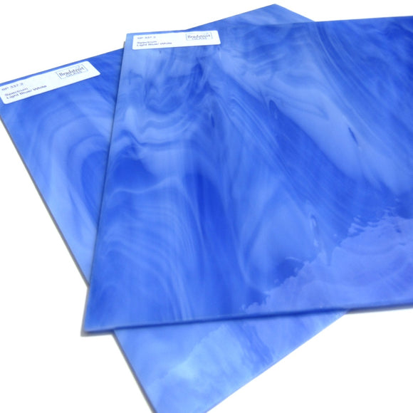 Spectrum SP 337.2 Stained Glass Sheet Light Blue White Opal Streaky Swirled Opaque