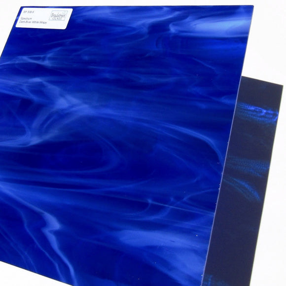 Spectrum SP 339.6 Dark Blue and White Wispy Stained Glass Sheet Opaque Streaky Swirled