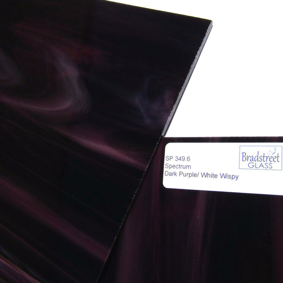 Dark Purple and White Stained Glass Sheet Opaque Spectrum 349.6