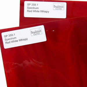 Spectrum S3591 Stained Glass Sheet Red White Wispy Opaque