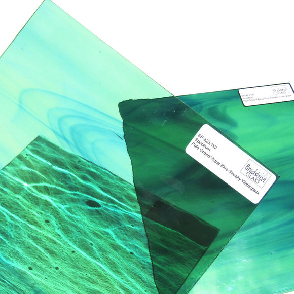 Spectrum Pale Green Aqua Blue Streaky Waterglass Textured Cathedral Stained Glass Sheet SP 423.1W