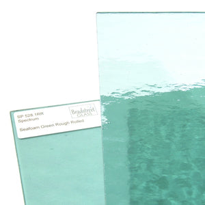 Seafoam Green Rough Rolled Cathedral Stained Glass Sheet Spectrum 528.1RR