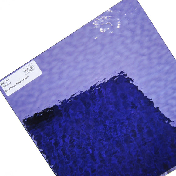 Spectrum 543.2RR Grape Rough Rolled Cathedral Stained Glass Sheet Textured Translucent