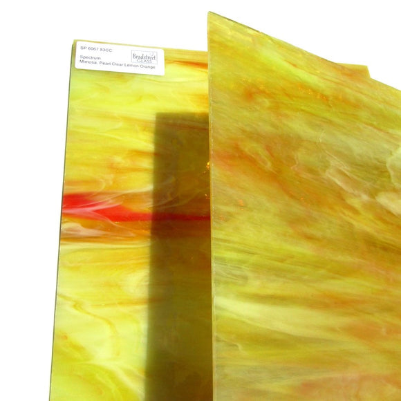 Spectrum 6067.83CC Mimosa Pearl Opal Stained Glass Sheet Opaque Ripple Textured Pearl Clear Lemon Orange