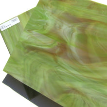 Spectrum 621.7 Stained Glass Sheet Opaque Streaky Swirled Amber Green White Opal