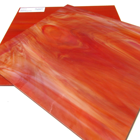 Spectrum SP 675.5 Stained Glass Sheet, White, Orange, and Red Streaky Swirled Opaque