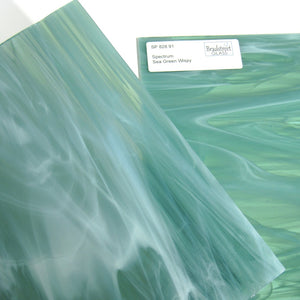 Sea Green and White Wispy Stained Glass Sheet Spectrum 828.91