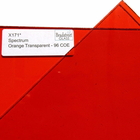 Spectrum Orange System 96 Cathedral Transparent Stained Glass Sheet 96 COE SF171