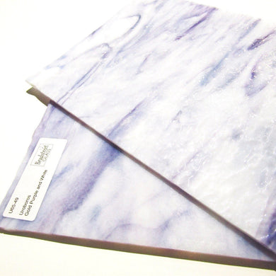 Uroboros 65-49 Gold-Purple and White Swirled Streaky Granite Textured Art Glass Sheet