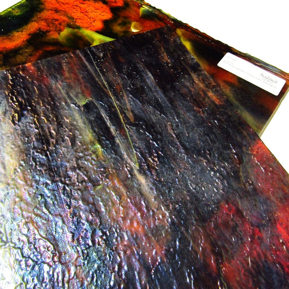 Uroboros 65-95IR Blue, Amber with Red, Orange, Green, Rainbow Iridescent Opaque Swirled Streaky Granite Textured Art Glass Sheet