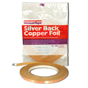 Silver Backed Copper Foil Tape 1/4 inch 1.5 mil Venture Tape