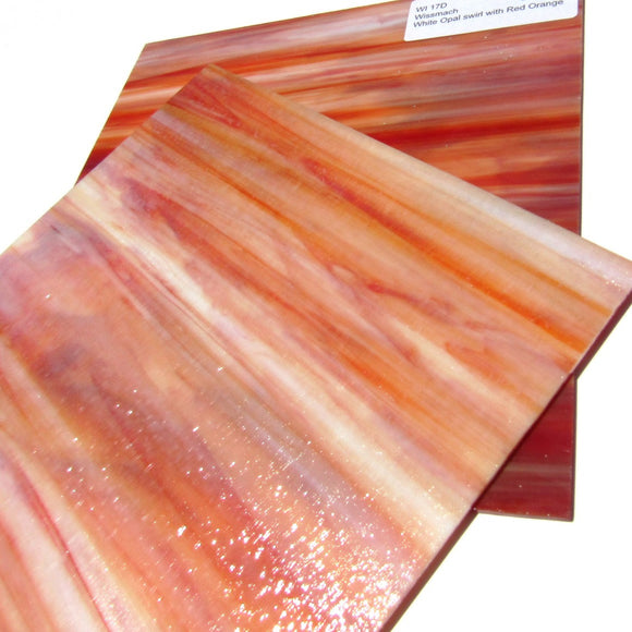 Wissmach WI 17D Stained Glass Sheet Dense Opaque Streaky White Opal Swirled with Red Orange