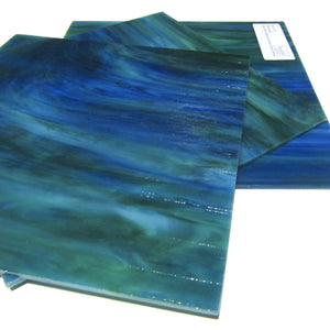 Wissmach 197D Stained Glass Sheet Dark Blue Medium Green Opal Dense
