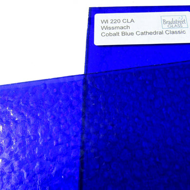 Wissmach Cobalt Blue Classic Cathedral Stained Glass Sheet WI 220 CLA