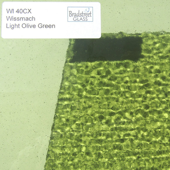 Wissmach WI 40CX Stained Glass Sheet Light Olive Green Cathedral Translucent
