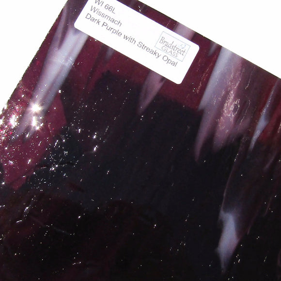 Wissmach Dark Purple with Streaky Opal Stained Glass Sheet WI 66L