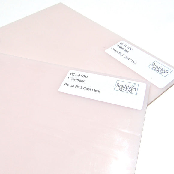 Wissmach Dense Pink Cast Opal Opaque Stained Glass Sheet WI P51DD