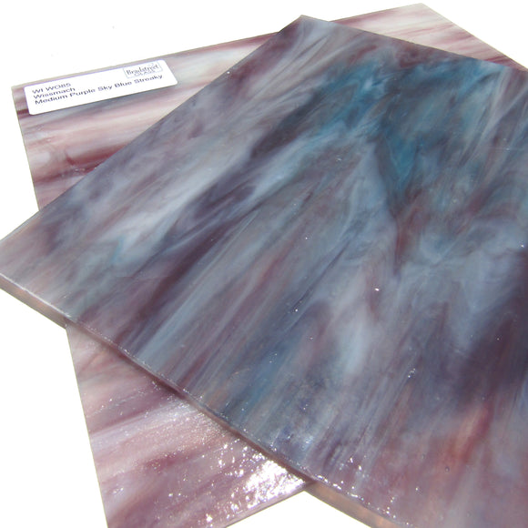 Wissmach WI WO85 Stained Glass Sheet Medium Purple Sky Blue Streaky