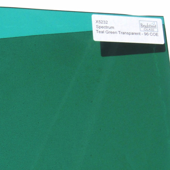 Spectrum System 96 Teal Green Transparent Fusible Stained Glass Sheet 96 COE Translucent SF5232