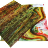 Youghiogheny Y1049RG Stained Glass Sheet White Opal Dark Green Red Orange Reproduction Glass