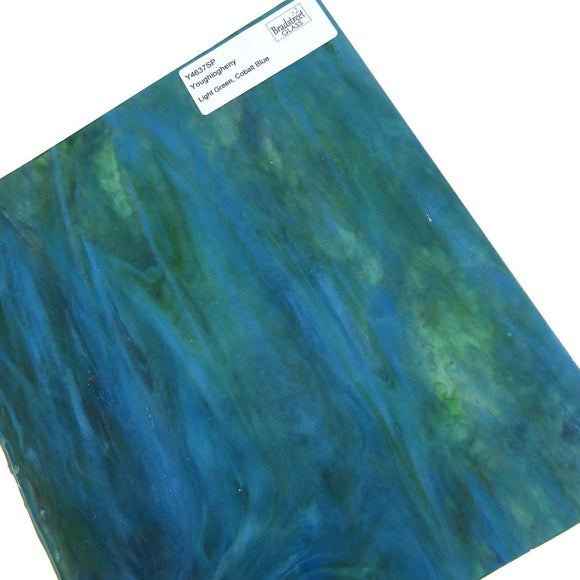 Youghiogheny Y 4637SP Stained Glass Sheet Opaque Mottled Light Green Cobalt Blue