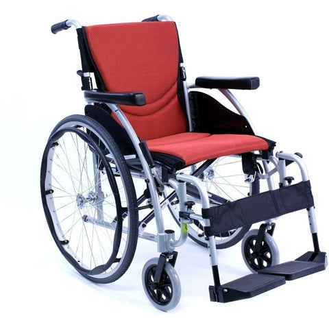 "Karman Healthcare S Ergo 125 Ultra Lightweight Manual Wheelchair-Manual Wheelchair-Karman Healthcare-Red-16""x17""-Standard-Adept Mobility"