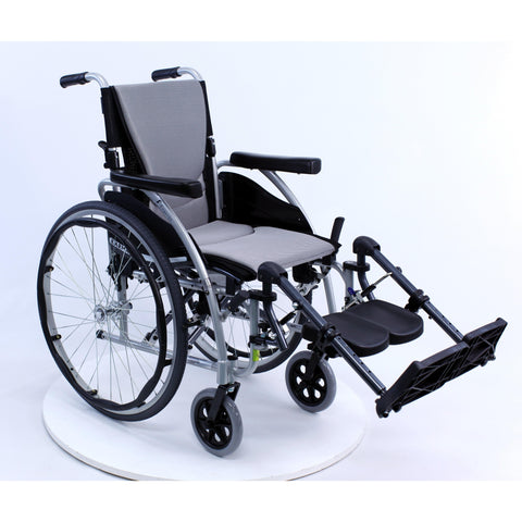 "Karman Healthcare S Ergo 125 Ultra Lightweight Manual Wheelchair-Manual Wheelchair-Karman Healthcare-Silver-16""x17""-Standard-Adept Mobility"