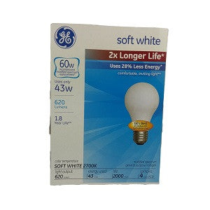 GE Soft White 60W Long Life 4 Count