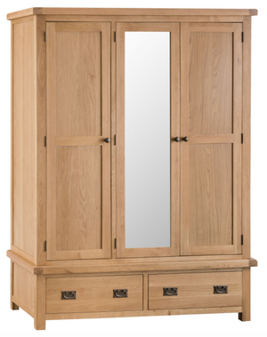 Country Oakham 3 Door Wardrobe with Mirror